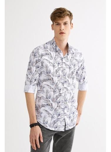 Avva Erkek  Çiçek Baskılı Düğmeli Yaka Gömlek A01Y2135 Kahve